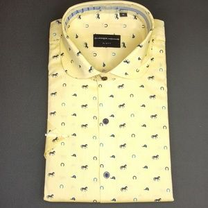 New Dapper Homme Polo Pattern Yellow Short Sleeve